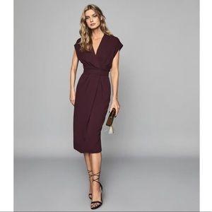 Reiss Maxime Burgundy Slim Fit Dress Size 6